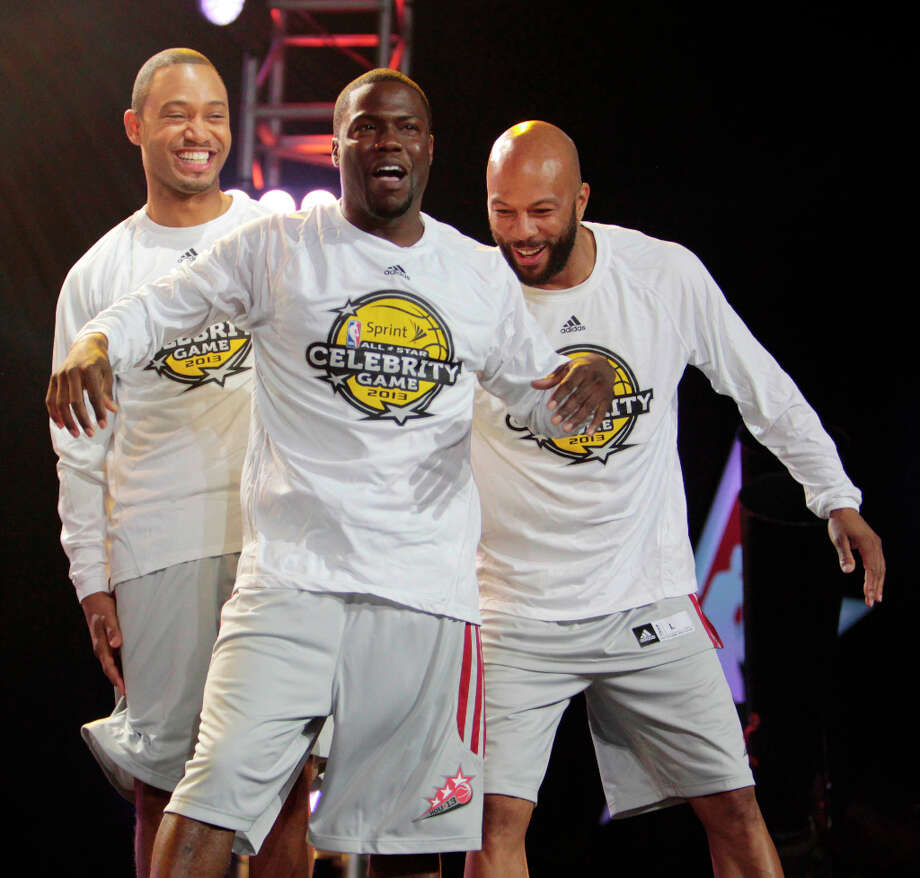 (l-r) TV Host Terrance Jenkins, comedian Kevin Hart and rapper Common cut up during the intros of the 2013 Sprint All-Star Celebrity game. Photo: Billy Smith II, Houston Chronicle / © 2013 Houston Chronicle