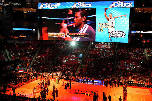 Team Chuck's Kawhi Leonard is introduced before the BBVA Rising Stars Challenge at the Toyota Center Friday Feb. 15, 2013 in Houston, Texas. Photo: Edward A. Ornelas, San Antonio Express-News / © 2013 San Antonio Express-News