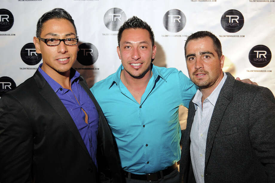 From left: Ivan Sanchez, Alex Borja and Pablo Rodriguez at a party hosted by Golden State Warrior David Lee at the Hudson Lounge Friday Feb. 15, 2013. Photo: Dave Rossman, For The Houston Chronicle / © 2013 Dave Rossman