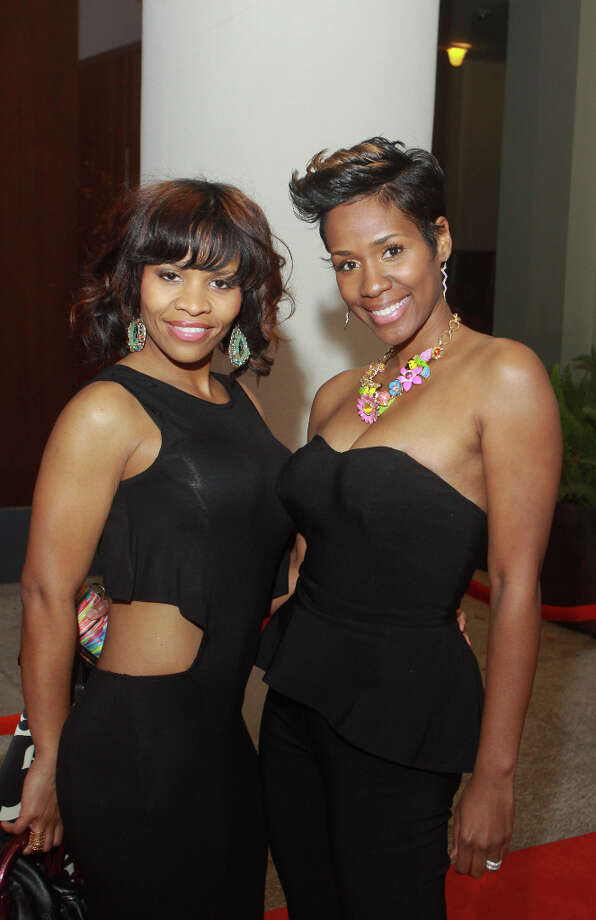 Panesha Encalade, left, and Sekoya Arceneaux on the red carpet of the NBA All-Star party hosted by Shaquille O'Neal. Photo: Gary Fountain, For The Chronicle / Copyright 2013 Gary Fountain.