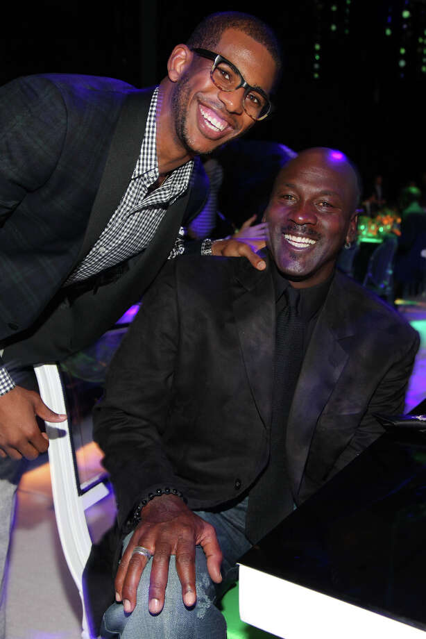 IMAGE DISTRIBUTED FOR JORDAN BRAND - Jordan Brand athlete, Chris Paul and Michael Jordan are seen at the Jordan Brand party celebrating Jordan's birthday on Friday, February 15, 2013 in Houston, TX.  The Jordan Brand launched its Air Jordan XX8 in Houston on the same day.  (Photo by Omar Vega/Invision for Jordan Brand/AP Images) Photo: Omar Vega, Associated Press / Invision