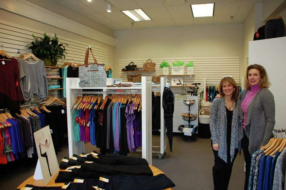Lindsay Prospect, right, and Maxine Berg recently opened Jade in the Goodwives Shopping Center in Darien. For two years, they had a traveling trunk shop that featured their line of high-quality fitness wear and accessories, but now, after many requests from customers, they've settled in to a permanent location. Photo: Contributed