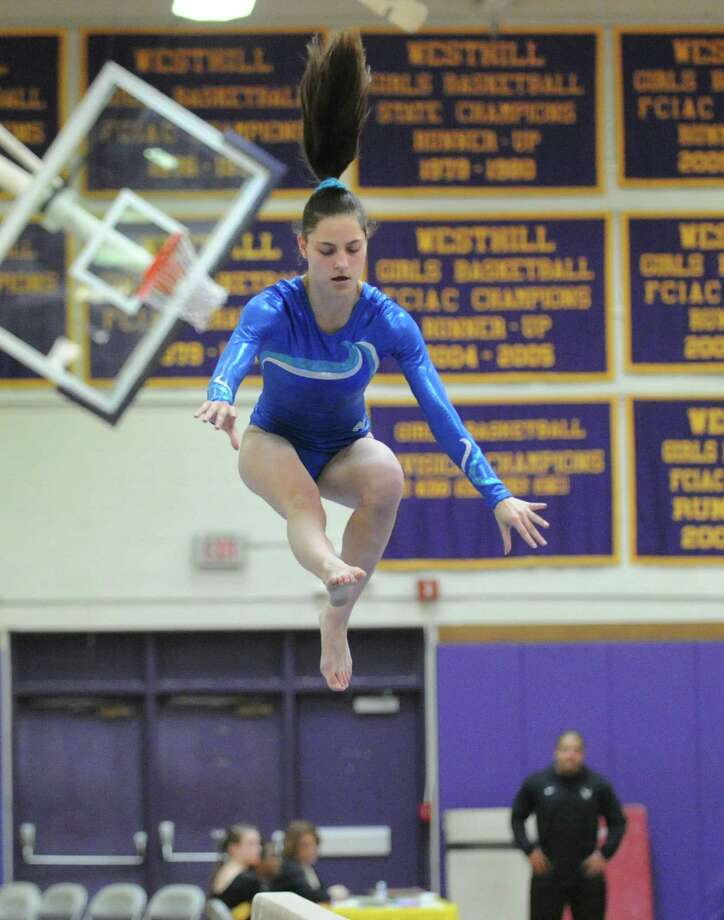 Marya von Schmidt of Darien High School on the balance beam during the 2013 FCIAC Girls Gymnastics Championships at Westhill High School in Stamford, Saturday, Feb. 16, 2013. Photo: Bob Luckey / Greenwich Time