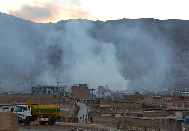 Smoke rises following a bomb explosion in Quetta on February 16, 2013. A remote-controlled bomb targeting Shiite Muslims killed 47 people including women and children and wounded more than 200 in Pakistan's insurgency-hit southwest on Saturday, police and officials said.  AFP PHOTO/Banaras KHANBANARAS KHAN/AFP/Getty Images Photo: Banaras Khan, AFP/Getty Images