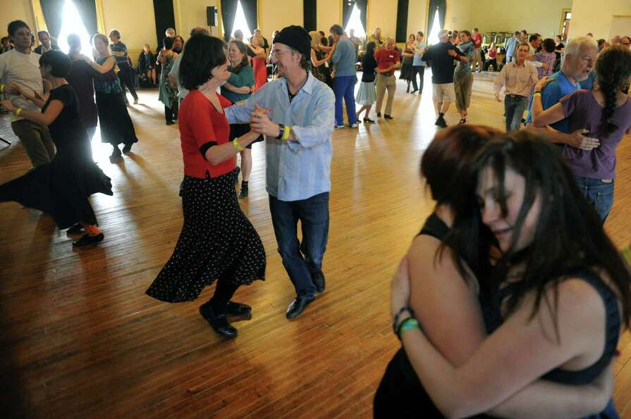 Couples dance Catskill mountain waltzes as Ungar & Mason play as part of Dance Flurry on Saturday Fe