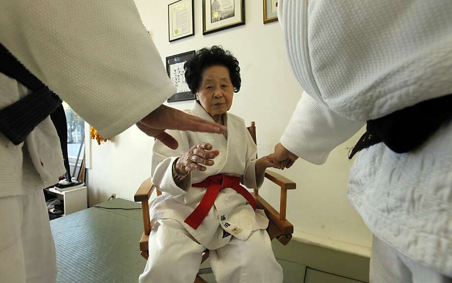Keiko Fukuda at 98 years old teaches hand techniques to her judo students at the women's dojo in S.F.'s Noe Valley, where she taught for more than 40 years. Photo: Lance Iversen, The Chronicle