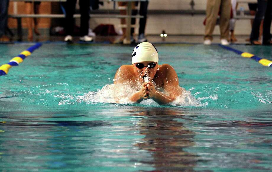 William Borst of San Antonio's Central Catholic High School  competes in the Men's 200 yard Individual Medley during the Texas Association of Private and Parochial Schools state swimming meet at Josh Davis Natatorium, Feb 16, 2013. Photo: Steve Faulisi, San Antonio Express-News / ©2013 San Antonio Express-News