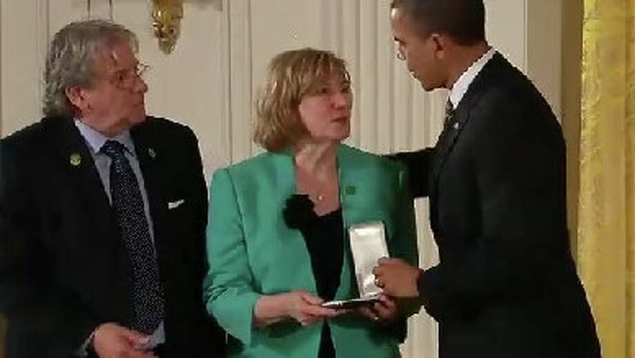 President Obama presented the Presidential Citizens Medal to the families of Principal Dawn Hochsprung, school psychologist Mary Sherlach, and teachers Lauren Rousseau, Victoria Soto, Rachel Davino and Anne Marie Murphy. Photo: Contributed Photo / Connecticut Post Contributed