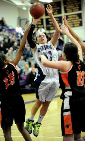 Westhill's Megan D'Alessandro takes a shot during Saturday's FCIAC quarterfinal game against Stamford at Westhill High School on February 16, 2013. Photo: Lindsay Perry / Stamford Advocate