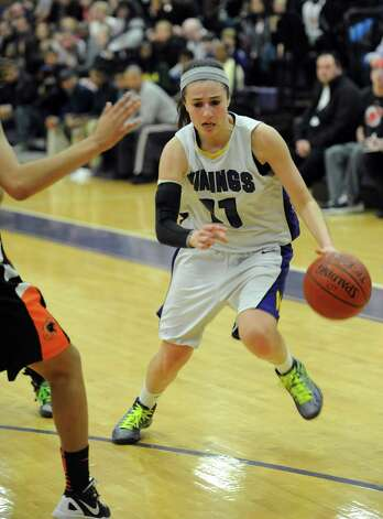 Westhill's Megan D'Alessandro controls the ball during Saturday's FCIAC quarterfinal game at Westhill High School on February 16, 2013. Photo: Lindsay Perry / Stamford Advocate