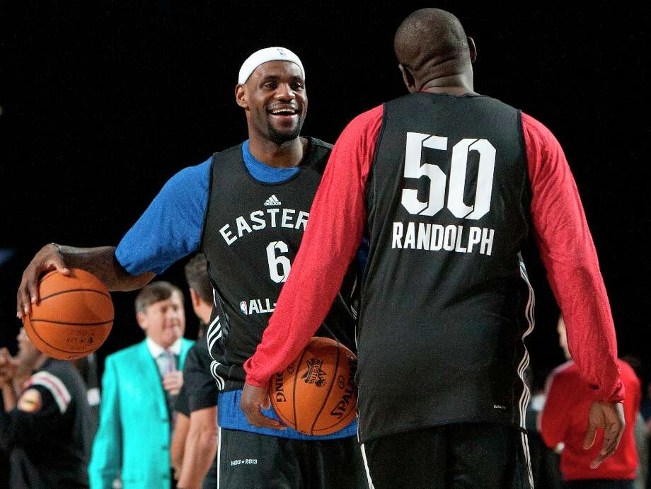 Miami Heat's Lebron James talks to Portland Trailblazers Zach Randolph during All-Star practice at the George R. Brown Convention Center, Saturday, Feb. 16, 2013, in Houston. Photo: Cody Duty / © 2013 Houston Chronicle
