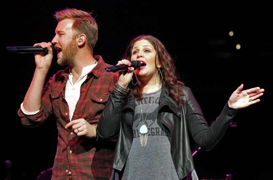 Charles Kelley (left) and Hillary Scott of Lady Antebellum perform at the San Antonio Stock Show and Rodeo on Saturday, Feb. 16, 2013. Photo: Kin Man Hui, San Antonio Express-News / © 2012 San Antonio Express-News