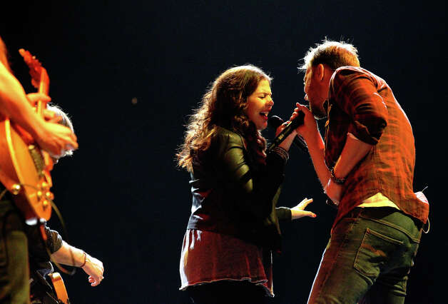 Hillary Scott (left) and Charles Kelley of Lady Antebellum perform at the San Antonio Stock Show and Rodeo on Saturday, Feb. 16, 2013. Photo: Kin Man Hui, San Antonio Express-News / © 2012 San Antonio Express-News