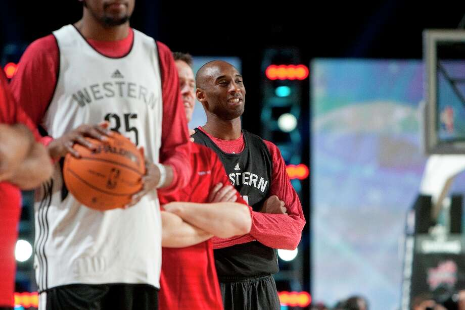 Los Angeles Laker's Kobe Bryant looks on during All-Star practice at the George R. Brown Convention Center, Saturday, Feb. 16, 2013, in Houston. Photo: Cody Duty / © 2013 Houston Chronicle