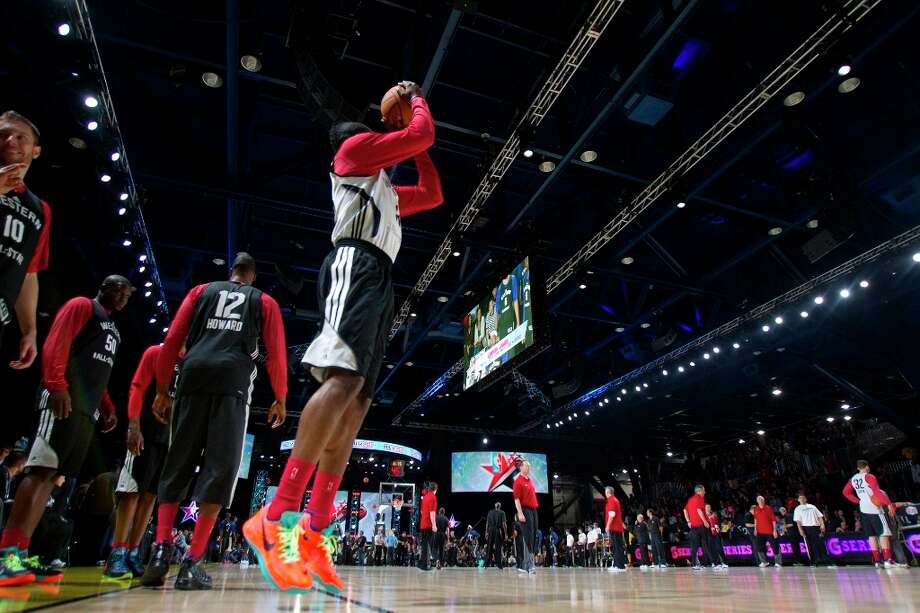 Houston Rocket James Harden takes a shot during All-Star practice at the George R. Brown Convention Center, Saturday, Feb. 16, 2013, in Houston. Photo: Cody Duty / © 2013 Houston Chronicle