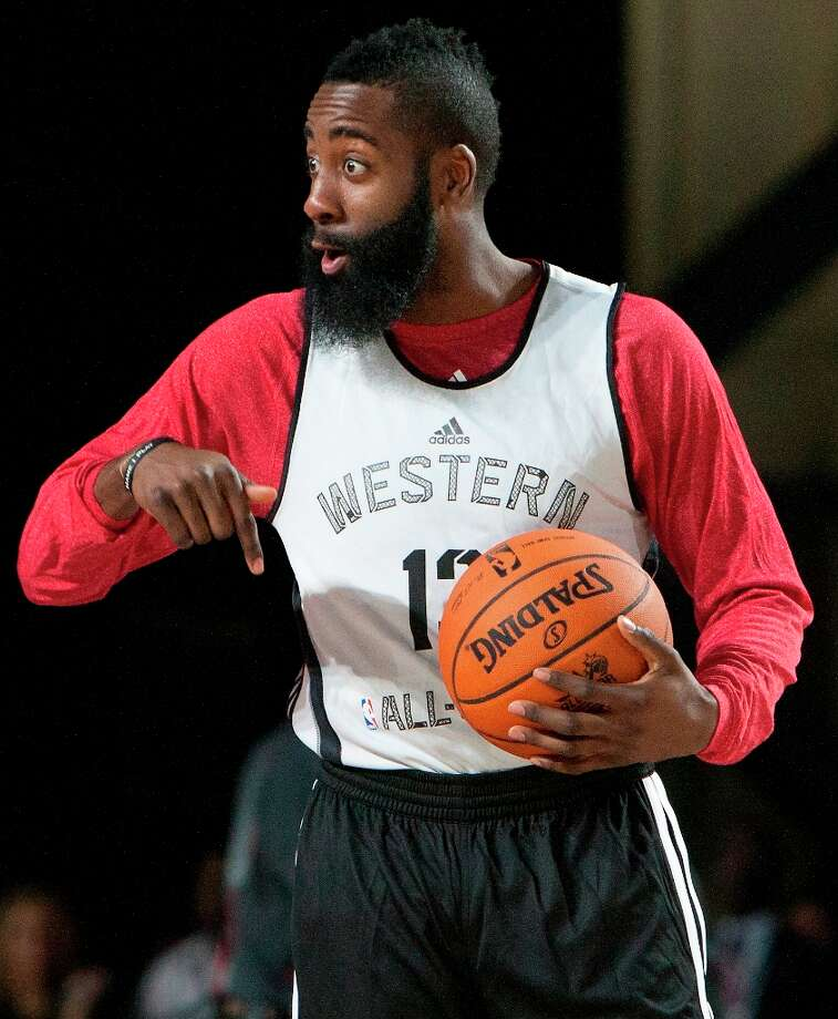Houston Rocket James Harden reacts during All-Star practice at the George R. Brown Convention Center, Saturday, Feb. 16, 2013, in Houston. Photo: Cody Duty / © 2013 Houston Chronicle