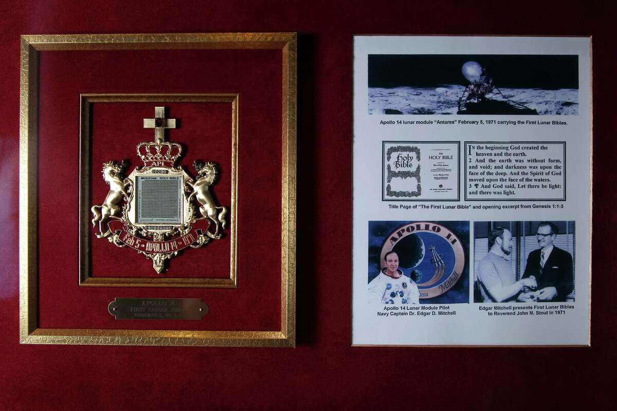 """This """"lunar Bible"""" on display in the Bible Museum at Houston Baptist Church is one of more than 100 microfilm copies of Scripture taken to the moon by Apollo XIV Astronaut Edgar Mitchell, who carried them during his moonwalk on Feb. 5, 1971."""