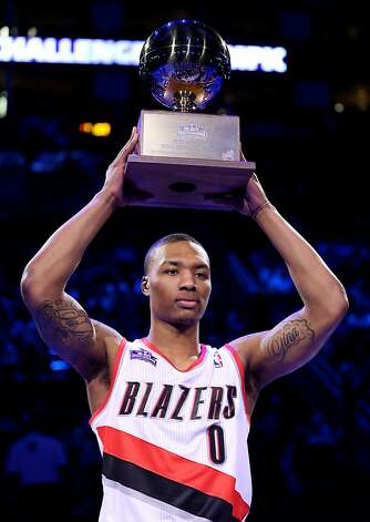 Skills Challenge winner Damian Lillard credited growing up in Oakland. Photo: Ronald Martinez, Getty Images
