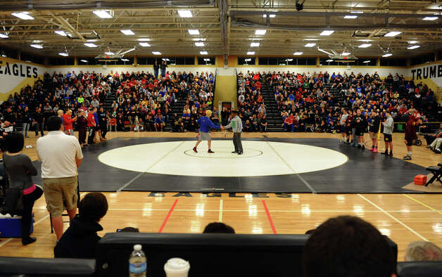 Class LL wrestling championship wrestling action in Trumbull, Conn. on Saturday February 16, 2013. Photo: Christian Abraham / Connecticut Post