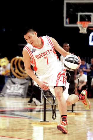 Jeremy Lin of the Houston Rockets competes in the NBA All-Star Skills Challenge at the Toyota Center on All-Star Saturday Night, Saturday, Feb. 16, 2013, in Houston. Photo: Melissa Phillip, Houston Chronicle / © 2013  Houston Chronicle
