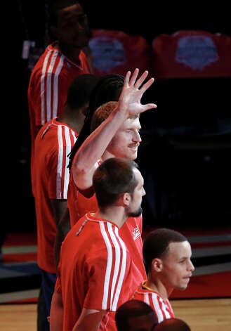 San Antonio Spurs' Matt Bonner is introduced before the State Farm All-Star Saturday Night at the Toyota Center Saturday, Feb. 16, 2013, in Houston. Photo: Edward A. Ornelas, San Antonio Express-News / © 2013 San Antonio Express-News