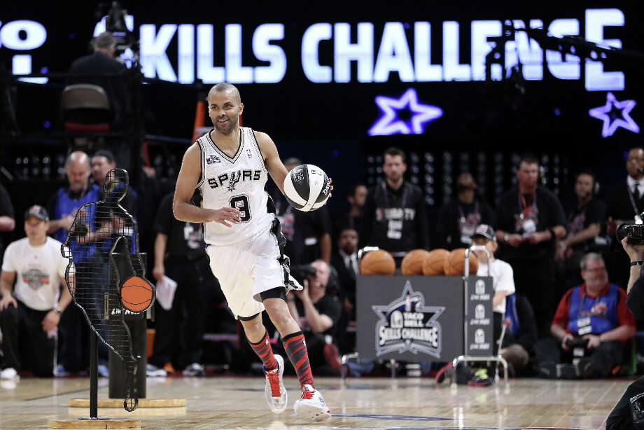Tony Parker of the San Antonio Spurs competes during the Taco Bell Skills Challenge part of 2013 NBA All-Star Weekend at the Toyota Center on February 16, 2013 in Houston. Photo: Ronald Martinez, Getty Images / 2013 Getty Images