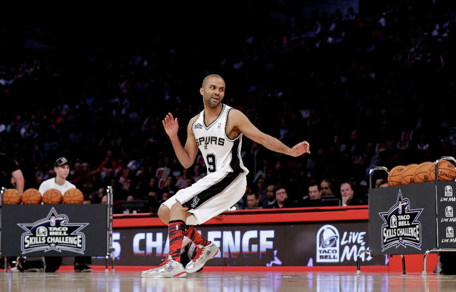 Tony Parker, from France and of the San Antonio Spurs, participates in the skills challenge during NBA All-Star Saturday Night basketball Saturday, Feb. 16, 2013, in Houston. Photo: Eric Gay, Associated Press / AP