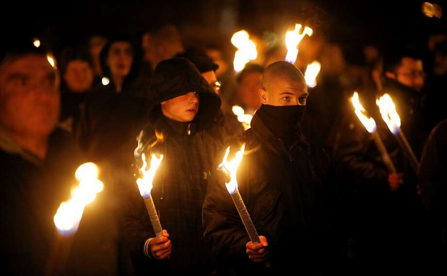 Members of nationalist organizations march with torches in central Sofia on February 16, 2013. More than one thousand members of various nationalist organizations marched to commemorate General Hristo Lukov, a Bulgarian army commander from the World War I, who was killed on February 13, 1943. Photo: Nikolay Doychinov, AFP/Getty Images