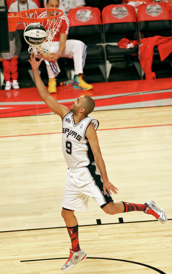 San Antonio Spurs' Tony Parker shoots during the Taco Bell Skills Challenge at the Toyota Center Saturday, Feb. 16, 2013, in Houston. Photo: Edward A. Ornelas, San Antonio Express-News / © 2013 San Antonio Express-News