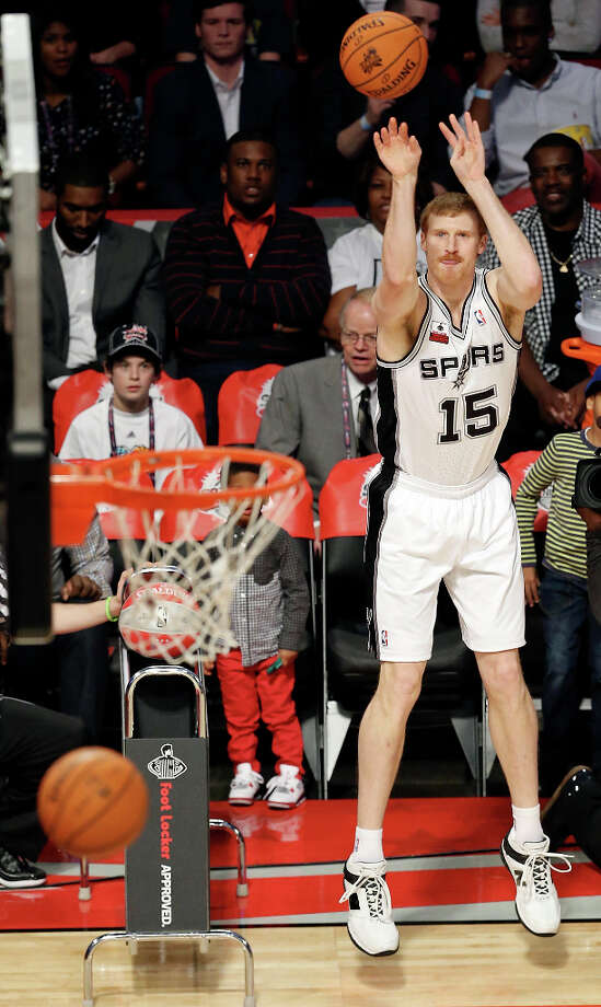 San Antonio Spurs' Matt Bonner shoots during the Foot Locker Three-Point Contest at the Toyota Center Saturday, Feb. 16, 2013, in Houston. Photo: Edward A. Ornelas, San Antonio Express-News / © 2013 San Antonio Express-News