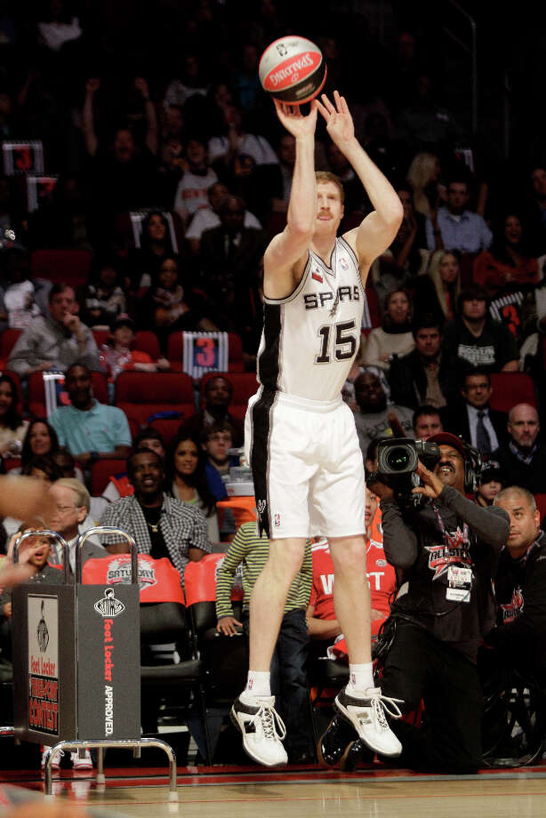Matt Bonner of the San Antonio Spurs competes in the NBA All-Star Three-Point Contest at the Toyota Center on All-Star Saturday Night, Saturday, Feb. 16, 2013, in Houston. Photo: Melissa Phillip, Houston Chronicle / © 2013  Houston Chronicle