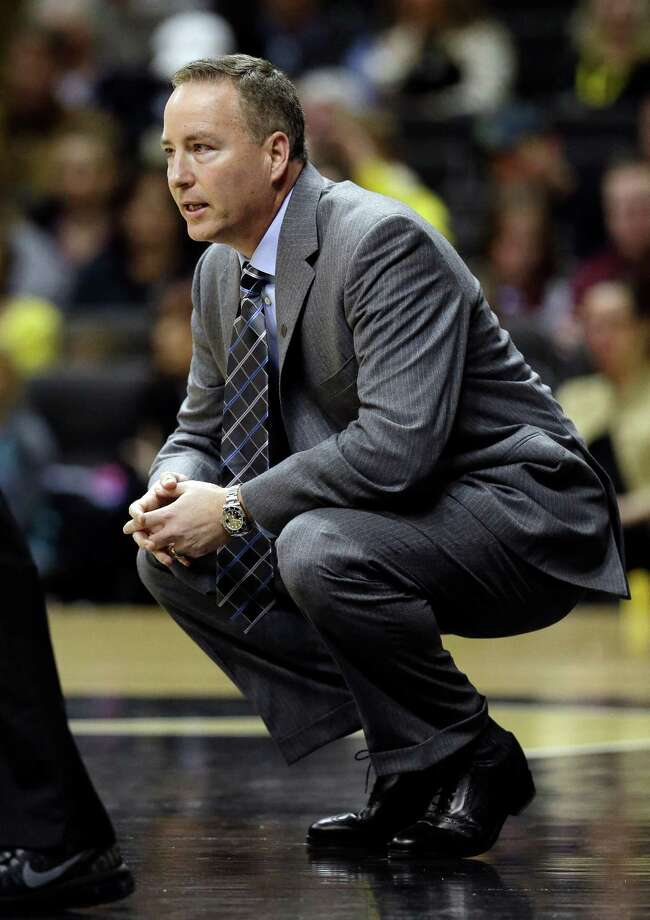 Texas A&M head coach Billy Kennedy watches the action in the first half of an NCAA college basketball game against Vanderbilt on Saturday, Feb. 16, 2013, in Nashville, Tenn. (AP Photo/Mark Humphrey) Photo: Mark Humphrey, Associated Press / AP