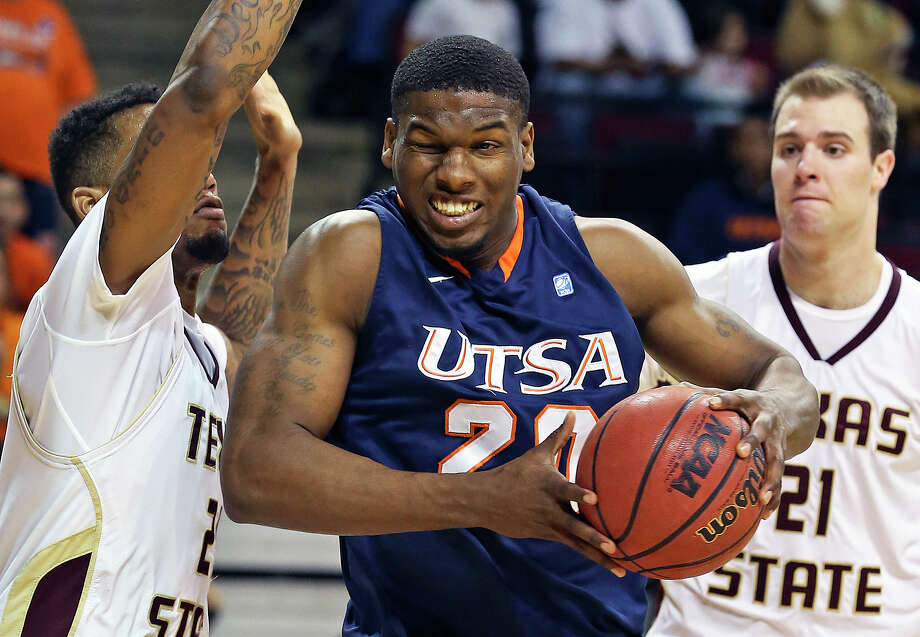 Runner center Edrico McGregor readies for a hard foul under the hoop as Texas State hosts UTSA in men's basketball at Strahan Coliseum  on February 16, 2013. Photo: Tom Reel