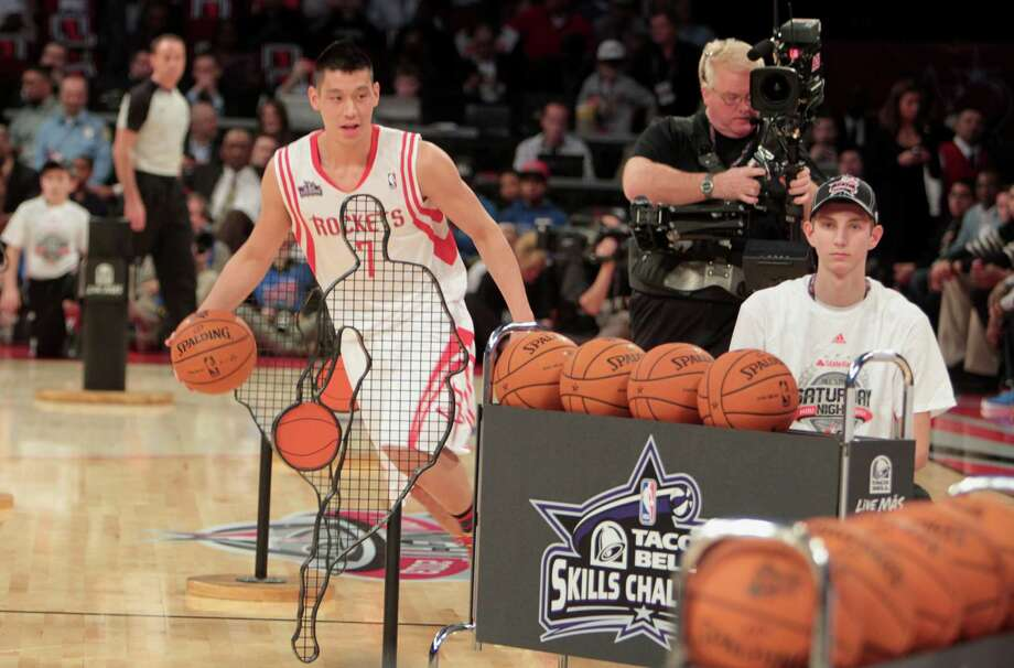 The Rockets' Jeremy Lin couldn't parlay his familiarity with the home court to capture the title at Saturday's Skills Challenge, which was at Toyota Center. Photo: James Nielsen, Staff / © 2013  Houston Chronicle