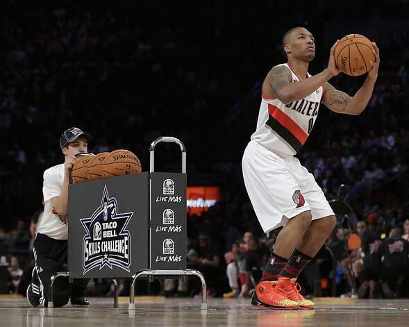Damian Lillard of the Portland Trail Blazers participates in the skills challenge during NBA basketball All-Star Saturday Night, Feb. 16, 2013, in Houston. (AP Photo/Eric Gay) Photo: Eric Gay, Associated Press