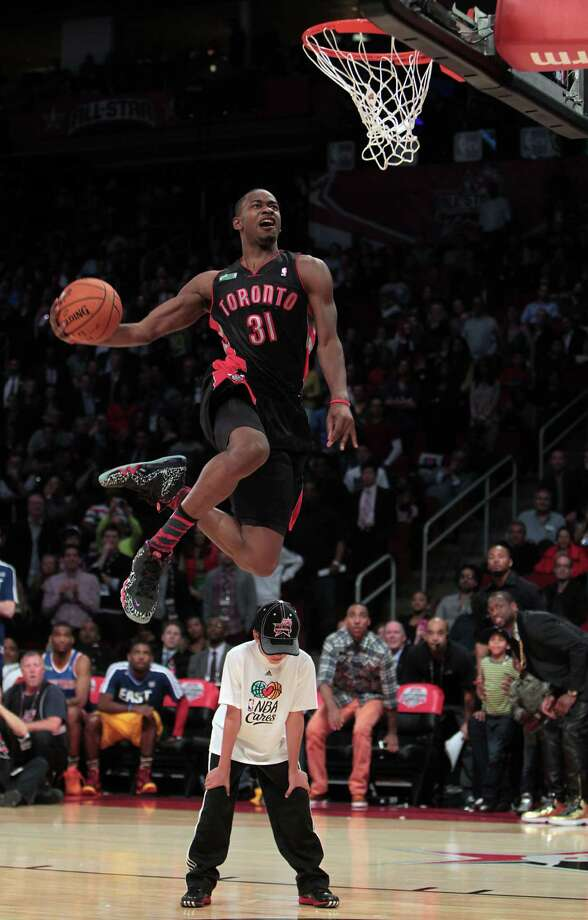 Terrence Ross of the Toronto Raptors competes in the NBA All-Star Slam Dunk Contest at the Toyota Center on All-Star Saturday Night, Saturday, Feb. 16, 2013, in Houston. ( James Nielsen / Houston Chronicle ) Photo: James Nielsen, Staff / © 2013  Houston Chronicle