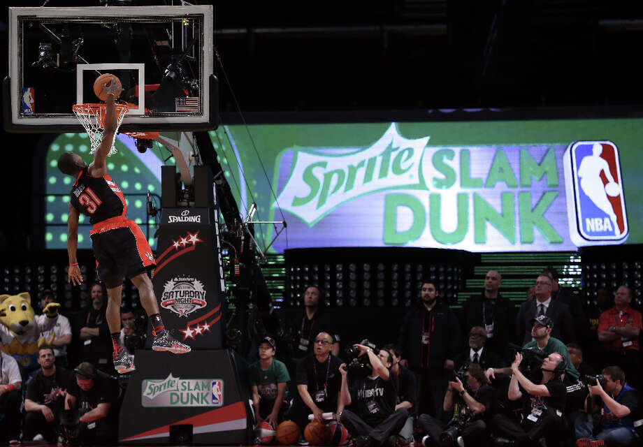 Terrence Ross of the Toronto Raptors goes up for a dunk in the first round during the Sprite Slam Dunk Contest part of 2013 NBA All-Star Weekend at the Toyota Center on February 16, 2013 in Houston. Photo: Ronald Martinez, Getty Images / 2013 Getty Images