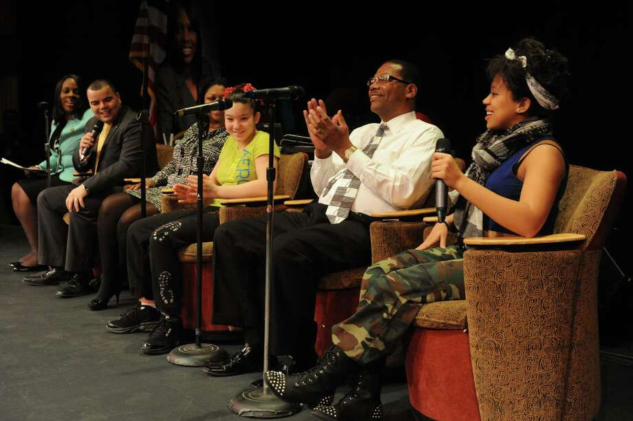 """Fourteen-year-old Jada Guerrero, right, of Albany takes part in a panel discussion """" Leading into the future-Overcoming the Challenges of Our Generation"""" during a Youth Summit as part of NYS Association of Black and Puerto Rican Legislators at the Capitol on Saturday Feb. 16, 2013 in Albany, N.Y. .(Michael P. Farrell/Times Union) Photo: Michael P. Farrell"""