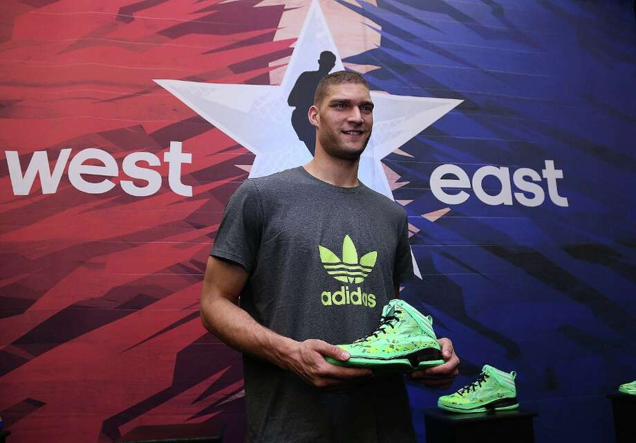 Eastern Conference All-Star Brook Lopez visits the Adidas VIP suite Feb. 15 during NBA All-Star in Houston and checks out the all-new Crazy Fast. Photo: Kelly Kline, Kelly Kline/adidas / Kelly Kline