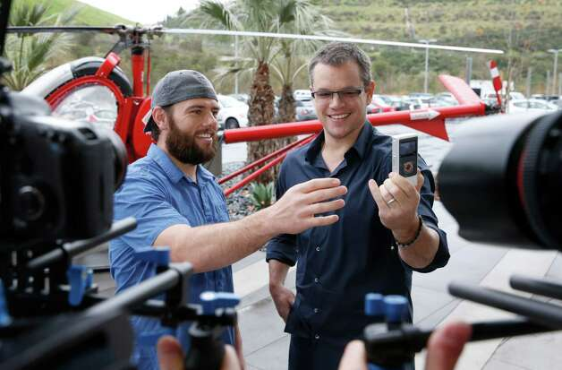 YouTube star ShayCarl interviews Water.org's Matt Damon after he announces a toilet strike in protest of the 2.5 billion people who lack access to safe water and sanitation, and asks for help at http://strikewithme.org as of Tuesday in Los Angeles. Photo: AP