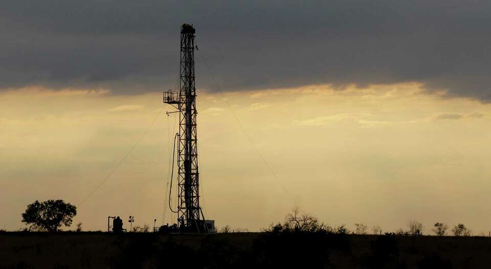 A drilling rig is seen near Kenedy, Texas, Wednesday, May 9, 2012. A UTSA report says South Texas's