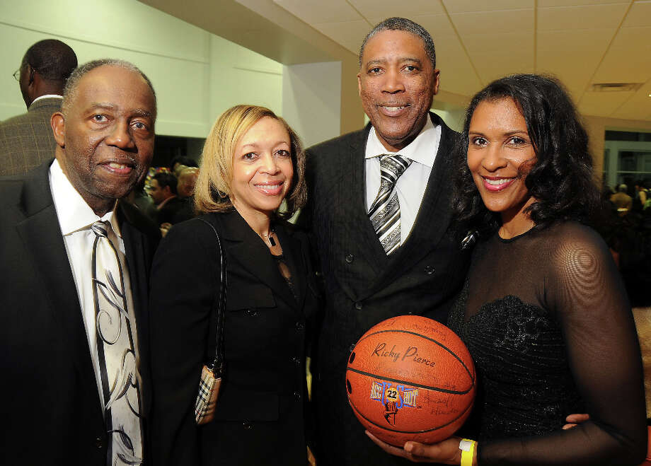 From left: Howard Smith, Bonnie Woodard, Steve Jones and Lynette Woodard at a party hosted by the NBRPA Houston at the Mercedes Benz of Houston dealership Saturday Feb. 16, 2013. Photo: Dave Rossman, For The Houston Chronicle / © 2013 Dave Rossman