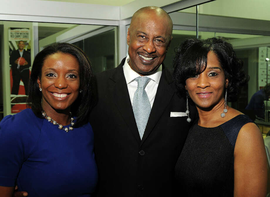 From left: J.R. White, Mike Jones and Dana Terry at a party hosted by the NBRPA Houston at the Mercedes Benz of Houston dealership Saturday Feb. 16, 2013. Photo: Dave Rossman, For The Houston Chronicle / © 2013 Dave Rossman