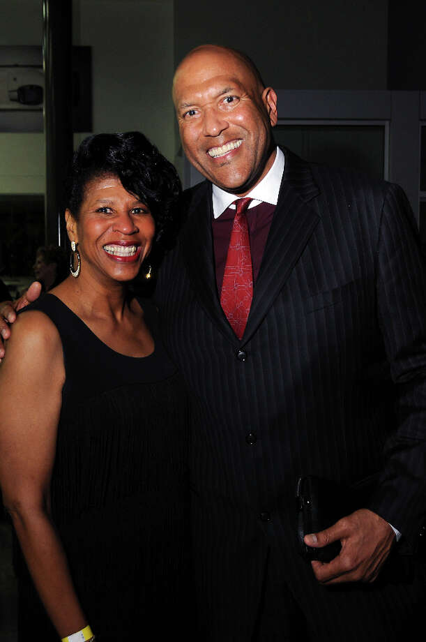 Denise Davis and James Donaldson at a party hosted by the NBRPA Houston at the Mercedes Benz of Houston dealership Saturday Feb. 16, 2013. Photo: Dave Rossman, For The Houston Chronicle / © 2013 Dave Rossman