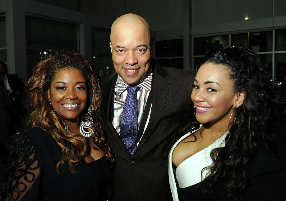 From left: Sharon Cheatham, Kyle Whitley and Ashley Cheatman at a party hosted by the NBRPA Houston at the Mercedes Benz of Houston dealership Saturday Feb. 16, 2013. Photo: Dave Rossman, For The Houston Chronicle / © 2013 Dave Rossman