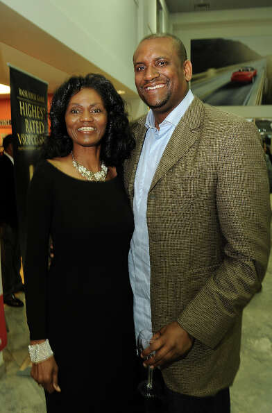Merel Mills and Christopher Jackson at a party hosted by the NBRPA Houston at the Mercedes Benz of H