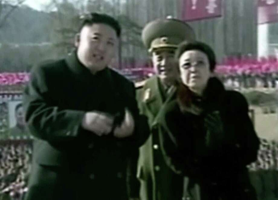 In this Feb. 16, 2013 image made from video, North Korean leader Kim Jong Un, center, attends a statue unveiling ceremony at Mangyongdae Revolutionary School in Pyongyang, North Korea on the anniversary of late North Korean leader Kim Jong Il's birthday. (AP Photo/KRT via AP Video) Photo: AP