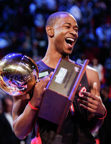 Terrence Ross of the Toronto Raptors celebrates after winning the NBA All-Star Slam Dunk Contest. Photo: Melissa Phillip, Houston Chronicle / © 2013  Houston Chronicle