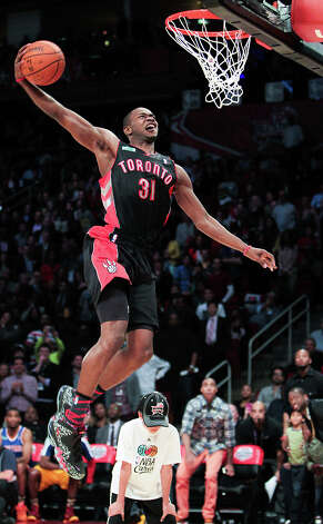 Terrence Ross of the Toronto Raptors competes in the NBA All-Star Slam Dunk Contest. Photo: James Nielsen, Houston Chronicle / © 2013  Houston Chronicle