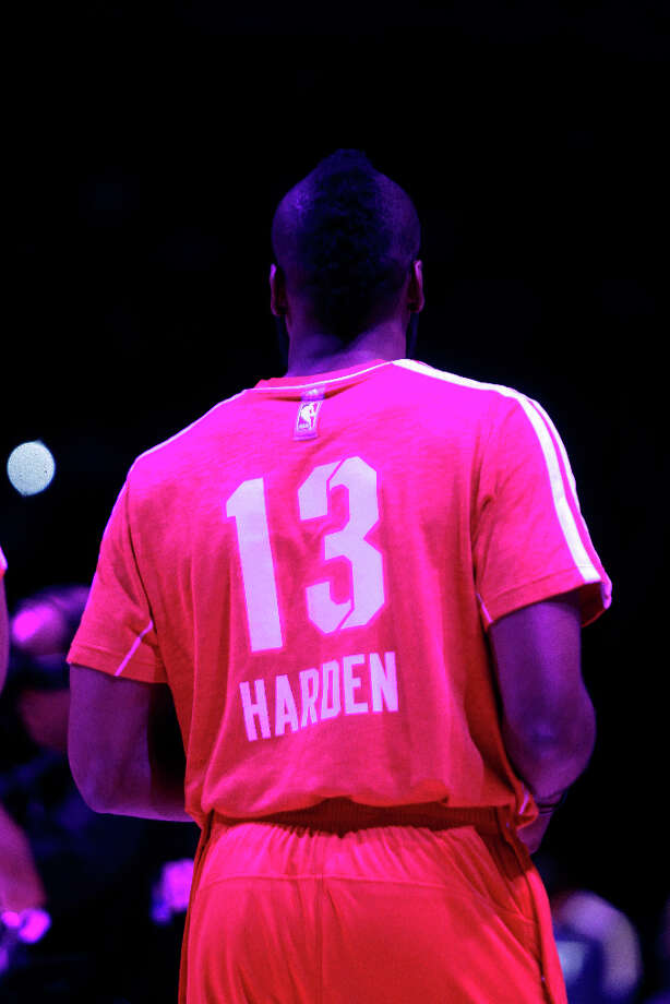 James Harden of the Houston Rockets takes the court on All-Star Saturday Night. Photo: Melissa Phillip, Houston Chronicle / © 2013  Houston Chronicle